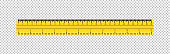Realistic plastic yellow tape ruler on transparent background. Double sided measurement in cm and inches.