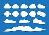 Big set clouds vector icon white color on blue background. Vector illustration.