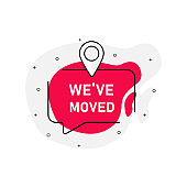 We`ve moved abstraction red stamp vector isolated on white background. Vector illustration.