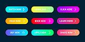 Colorful set of buttons with gradient and with multiple states for hover and click, isolated on dark blue background.