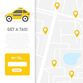 Get a taxi. Taxi map. Client basa. Vector illustration.
