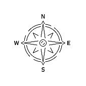Gray compass linear icon on white background. Vector illustration.