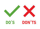 Two sign do and don't or good and bad Icons with positive and negative symbols. Vector illustration.