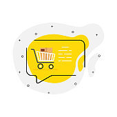 Online shopping on cell phone flat icon on a white background. Product Detail. Vector illustration.