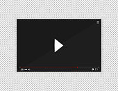 Realistic video player bar. Player video in flat style on a transparent background. Vector