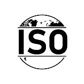ISO black icon on white background. Vector illustration.