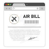 Air bill user`s online on window browser on white background.