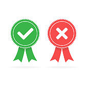 Approved green and rejected red flat icons on white background, Vector illustration.