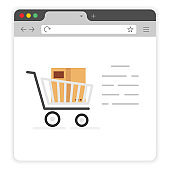 Online shopping on cell window browser flat icon on a white background. Product Detail. Vector illustration.