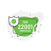 Green abstraction isolated sticker iso 22001 certified. Vector illustration.