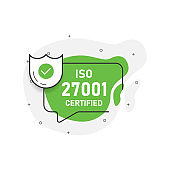 Green abstraction isolated sticker iso 27001 certified. Vector illustration.