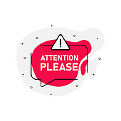 Attention please of marketing design badge with icon danger on red color. Vector illustration on white background.