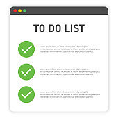 To do list on window browser on white background. Vector illustration.