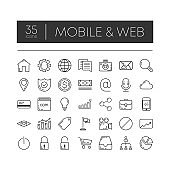 Set of 35 line icons of mobile and web for modern concepts, web and apps on white background. Vector illustration.