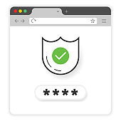 Secure password on window browser on white background. Vector illustration.