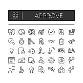Set of 35 line icons of approve for modern concepts, web and apps on white background. Vector illustration.