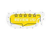 Yellow abstraction isolated sticker review us of 5 stars. Vector illustration.