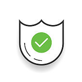 Secure sign is ok on white background. Vector illustration.