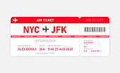 Red flat air ticket on white background. Vector illustration.