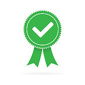 Approved green flat icon on white background, Vector illustration