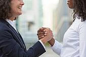 Closeup of friendly handshake