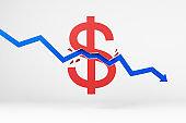 Abstract arrow breaking dollar