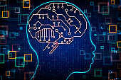 Artificial intelligence and coding concept
