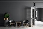 Modern grey interior with copyspace