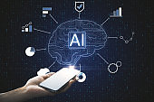 Artificial intelligence and communication concept