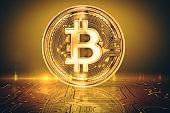 Golden bitcoin background