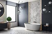 Contemporary bathroom with copyspace