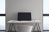 Modern desktop with blank computer