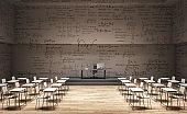 Light classroom with math formulas