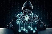 Cloud computing and criminal concept