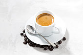 cup of espresso on a white background, horizontal