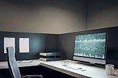 Modern office with forex on computer