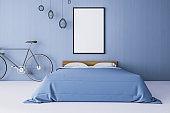 Contemporary blue bedroom interior