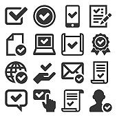Approve Icons Set on White Background. Vector