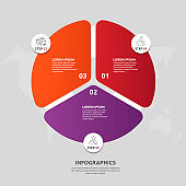 Vector flat template circle and sector infographics. Business concept with 3 sectors.