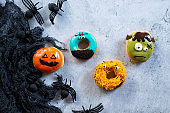 ghost donuts, Halloween background concept