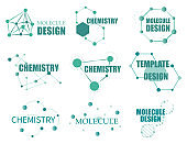 Set of logo with structure molecule.  Biology connecting logos, dna connect diagram, molecules interaction. Molecular structure logo, molecular grids and chemistry hexagon molecules templates