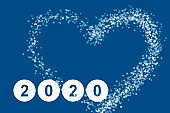 Isolated figures 2020 on the classic blue background with a heart