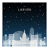 Winter night in Lansing. Night city in flat style for banner, poster, illustration, background.