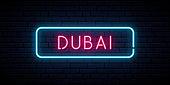 Dubai neon sign. Bright light signboard. Vector banner.