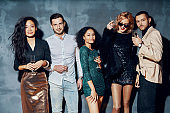 Diverse group of people posing at party time and have fun