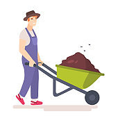 Man with wheelbarrow full of dirt or ground.