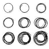 Hand drawn scribble circles set. Doodle circular