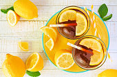 Summer iced tea on a yellow serving plate, top view on white wood