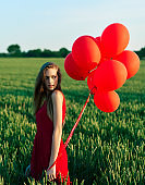 With red balloons