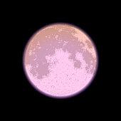 Full moon on black background, night sky, vector illustration